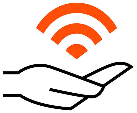 Black vector sign of hand holding WiFi signal illustration.