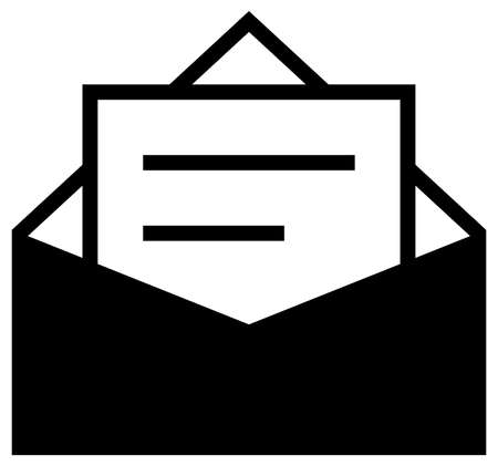 Black vector sign of envelope with text page