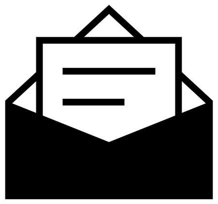 Zwart vectorteken van envelop met tekstpagina Stock Illustratie