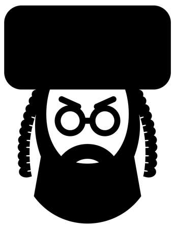 Black vector sign of religious jewish man in hat Illustration