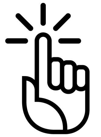 Black vector sign of hand with raised index finger and motion lines