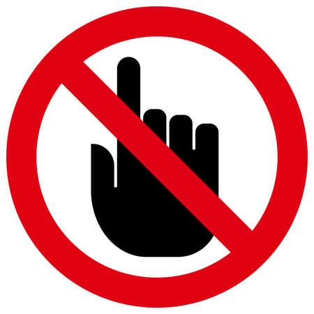 Ícone de vetor de sinal proibitivo com o dedo indicador dentro Ilustración de vector
