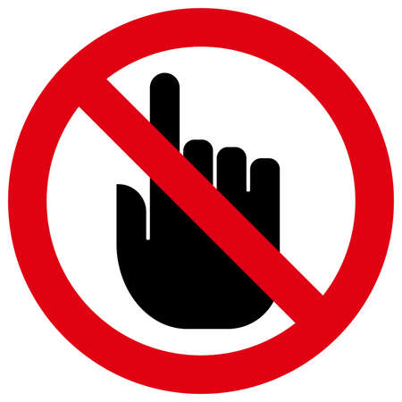 Vector icon of prohibitory sign with index finger inside