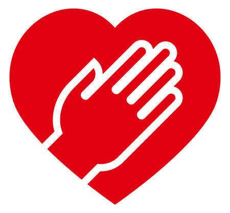 Vector sign of red heart under human hand.