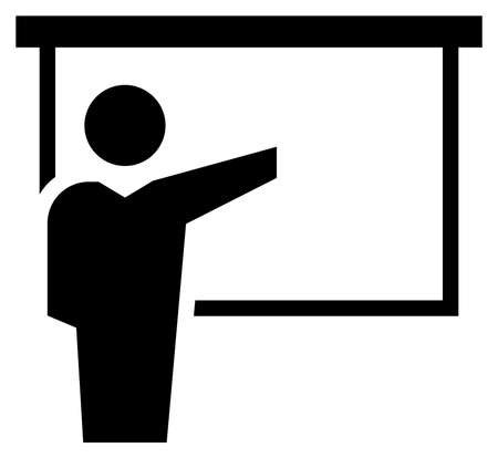 Black vector sign of lecturer pointing by hand at projection screen.