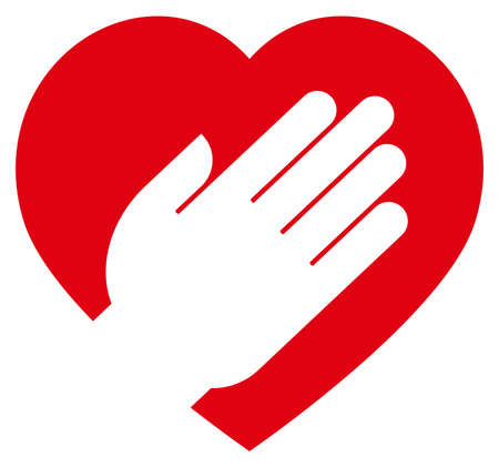 Red heart sign with white human hand.