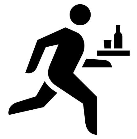Black sign of man carrying tray with bottle and glass. Vectores