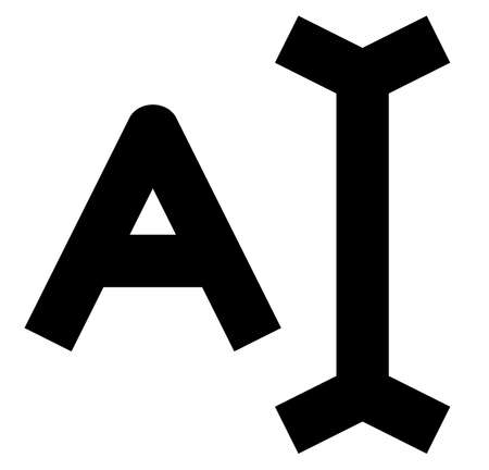 Black sign of letter with cursor.