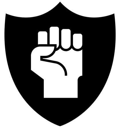 Black sign of clenched hand on shield.