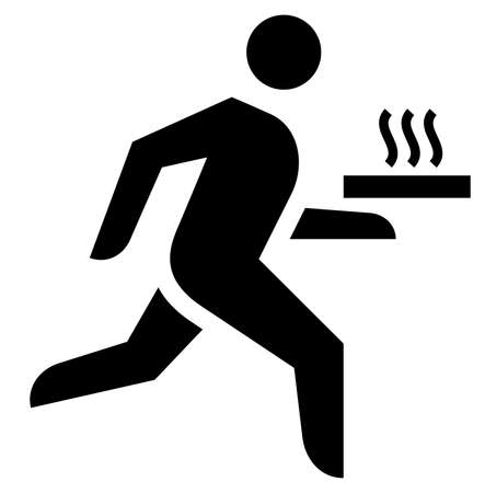 Black sign of courier carrying box or tray with hot pizza.