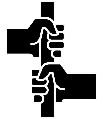 Black sign of two passengers holding handle in public transport. Stock Illustratie