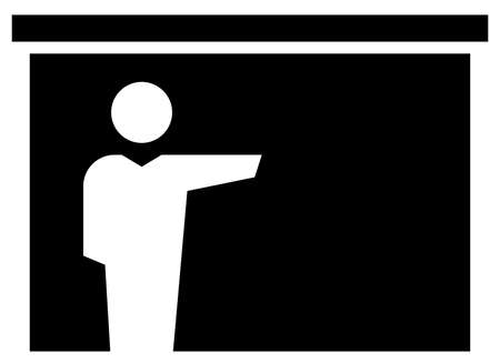 Black vector sign of lecturer pointing by hand at projection screen Illustration