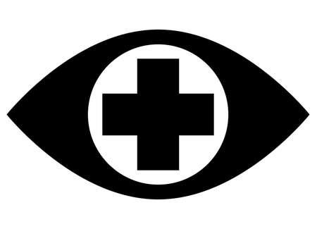눈동자의 중간에 의료 십자가와 인간의 눈의 검은 벡터 기호 스톡 콘텐츠 - 92426931