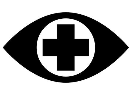 Black vector sign of human eye with medical cross in middle of pupil Illustration