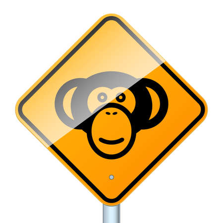 Monkey road sign. High-detailed vector sign isolated on white background Illustration