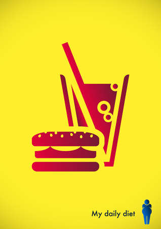 Result of unhealthy eating of fast food Vector illustration. Illustration