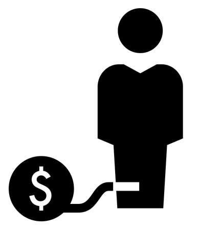 Debtor chained with heavy ball marked dollar sign