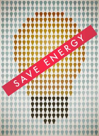 Poster encourages abandon incandescent lamps Ilustração