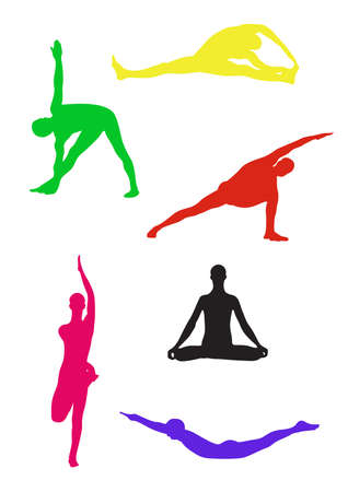 Vector collection of yoga poses silhouettes Illustration