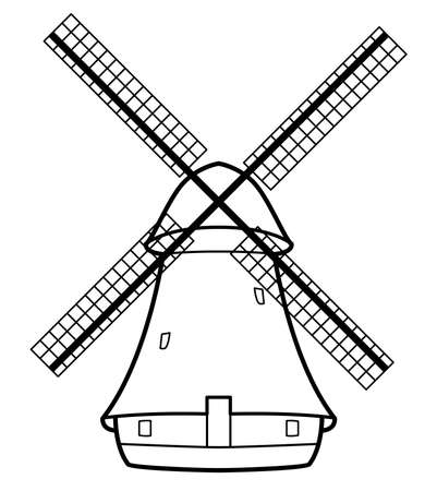 Vector illustration of the old wind mill Vettoriali