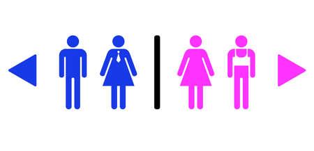 Joke vector signs for gay bar toilet Illustration
