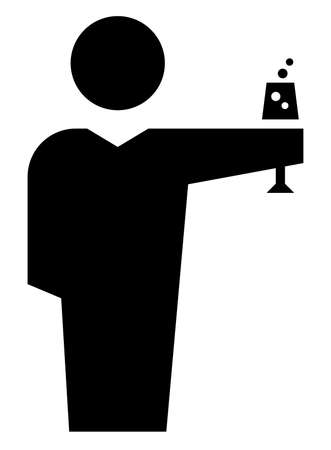 Black vector sign of man with glass of champagne toasting on celebration event Illustration