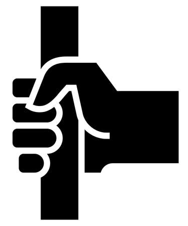 Black vector sign of passenger hand holding handle in public transport