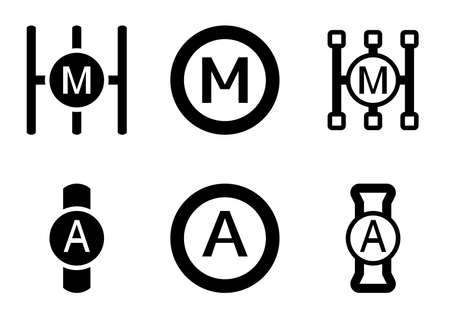 Several versions of manual and automatic gearbox icon Vectores
