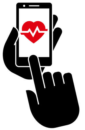 Forefinger touching home button and smart phone showing heart pulse on screen