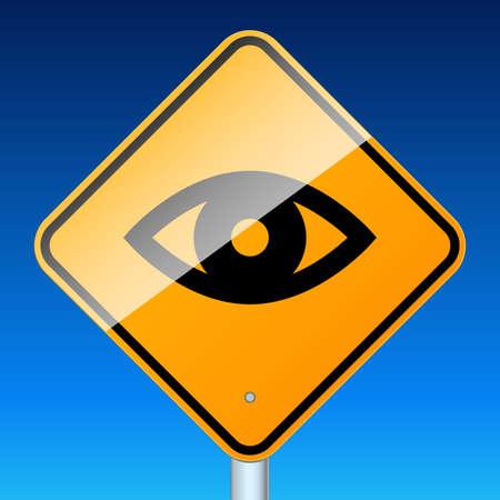 Road sign warns about road video surveillance Vektoros illusztráció