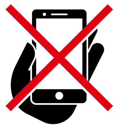 Vector sign of crossed out smartphone