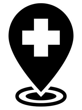Medical cross on map marker showing clinic location on map