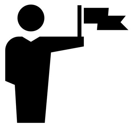 Black vector sign of man holding in outstretched hand fluttering flag