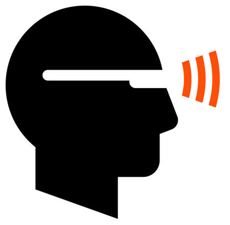 Black vector sign of man wearing smart glasses with wireless signal Illustration