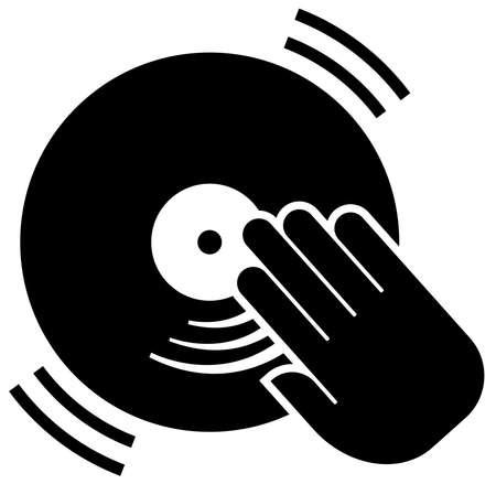 Black vector sign of vinyl disc under hand of deejay