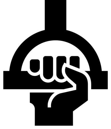Black vector sign of passenger hand holding handle