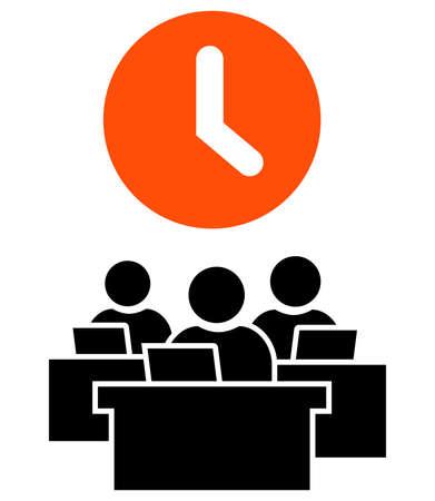 랩톱에서 작업하는 사람들의 그룹 위에 큰 오렌지 시계. 일러스트