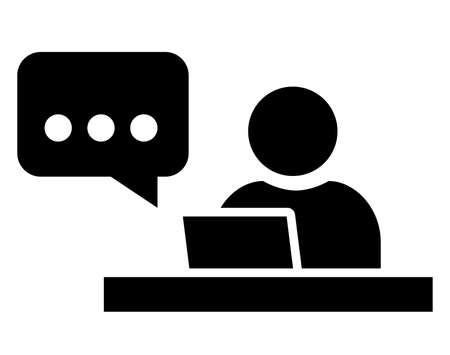 Black vector sign of man chatting on laptop Ilustração
