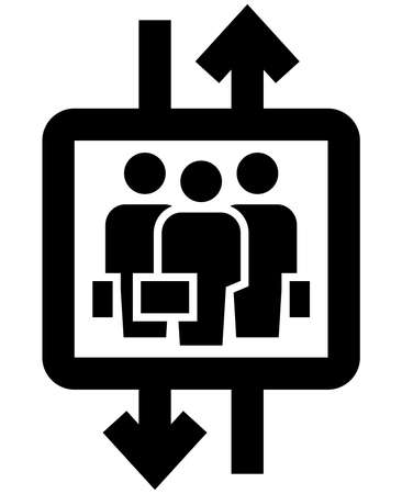 Black vector sign of business people with cases in elevator