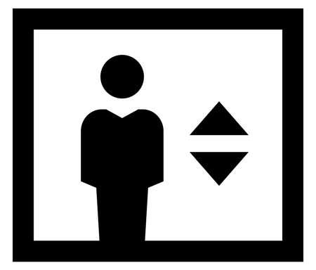 Black vector sign of man in elevator