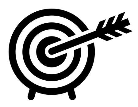 Black vector sign of a target struck by the arrow in the bullseye