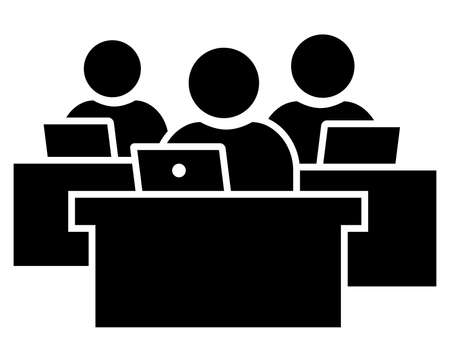 Black vector sign of business people working on laptop Illustration