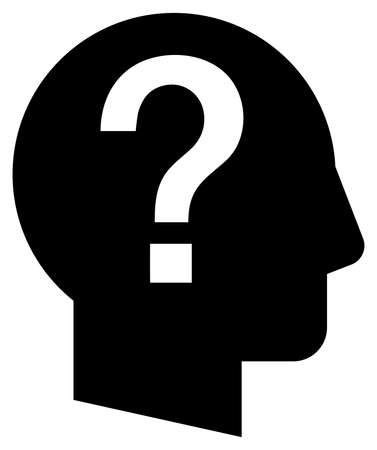 Black vector sign of shady character with question mark Illustration