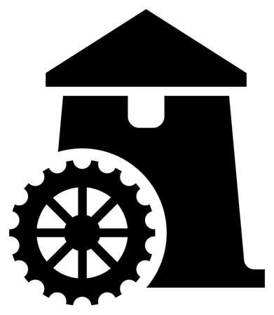 Schwarzes Vektorzeichen der Wassermühle