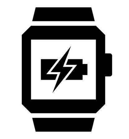 Vector icon of smart watch with lightning over flat battery on screen
