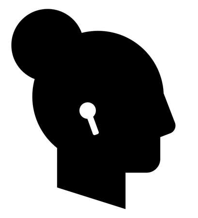 Vector icon of female profile with wireless headphones