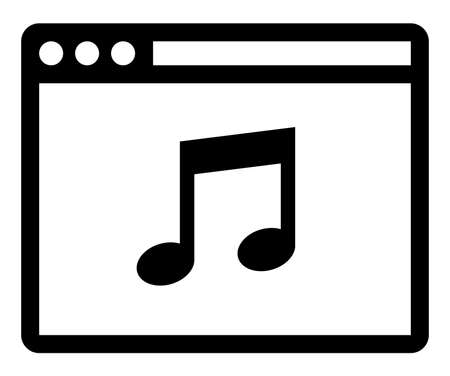 Vector icon of web browser with musical note inside