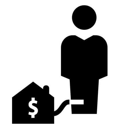 Vector icon of man chained with mortgage loan Foto de archivo - 124288145