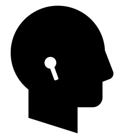 Vector icon of male profile with wireless headphones
