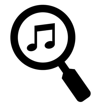 Vector icon of musical note under magnifying glass